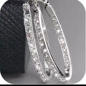 Sparkly Silver Hoop Earrings Diamond Men's Women's